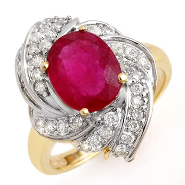 3.55 ctw Ruby & Diamond Ring 14k Yellow Gold - REF-90X9A