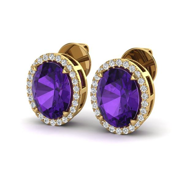 5.50 ctw Amethyst & Micro VS/SI Diamond Halo Earrings 18k Yellow Gold - REF-49H2R