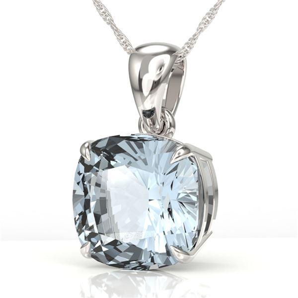 6 Cushion Cut Sky Blue Topaz Necklace 18k White Gold - REF-24F5M
