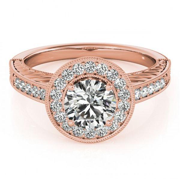 0.81 ctw Certified VS/SI Diamond Halo Ring 18k Rose Gold - REF-80K5Y