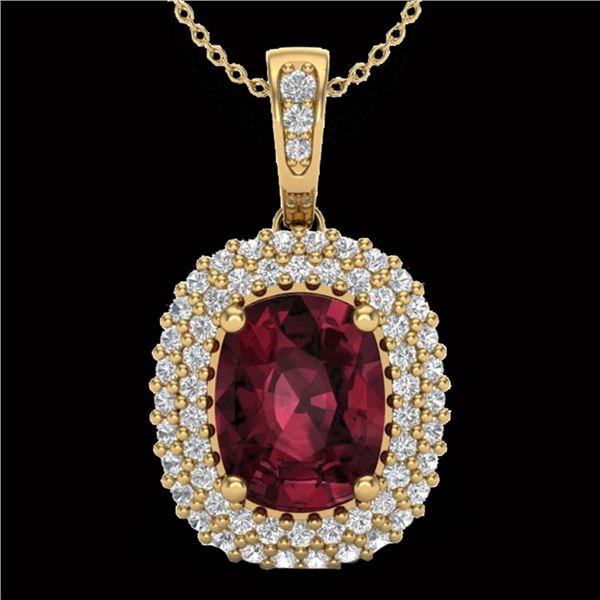 2.60 ctw Garnet & Micro Pave VS/SI Diamond Necklace 10k Yellow Gold - REF-50H8R