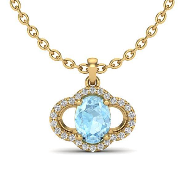 2 ctw Aquamarine & Micro Pave VS/SI Diamond Necklace 10k Yellow Gold - REF-31H4R