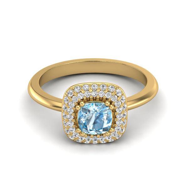 1.16 ctw Sky Blue Topaz & Micro VS/SI Diamond Ring Halo 18k Yellow Gold - REF-54N3F