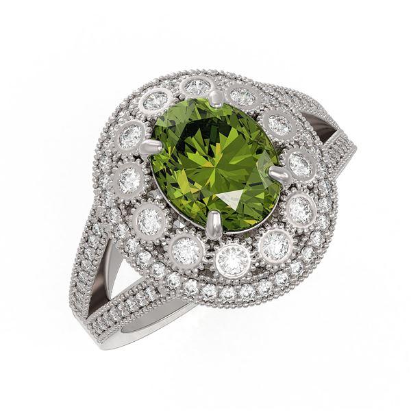 4.25 ctw Certified Tourmaline & Diamond Victorian Ring 14K White Gold - REF-132K8Y
