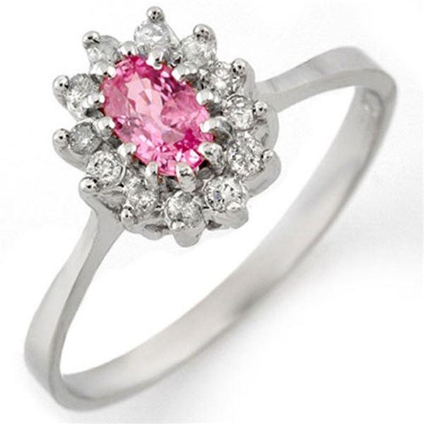 0.60 ctw Pink Sapphire & Diamond Ring 18k White Gold - REF-25F9M