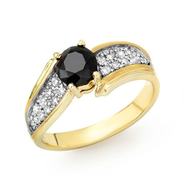 1.40 ctw VS Black & White Diamond Ring 10k Yellow Gold - REF-47K6Y
