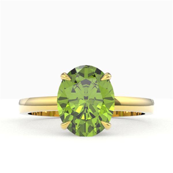 2.75 ctw Peridot Designer Solitaire Ring 18k Yellow Gold - REF-27K3Y