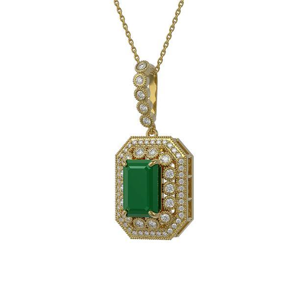 7.18 ctw Certified Emerald & Diamond Victorian Necklace 14K Yellow Gold - REF-172R8K