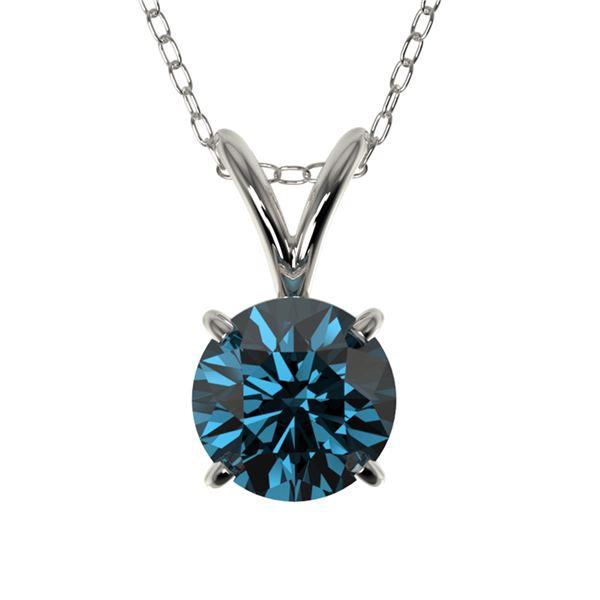 0.75 ctw Certified Intense Blue Diamond Necklace 10k White Gold - REF-54G2W