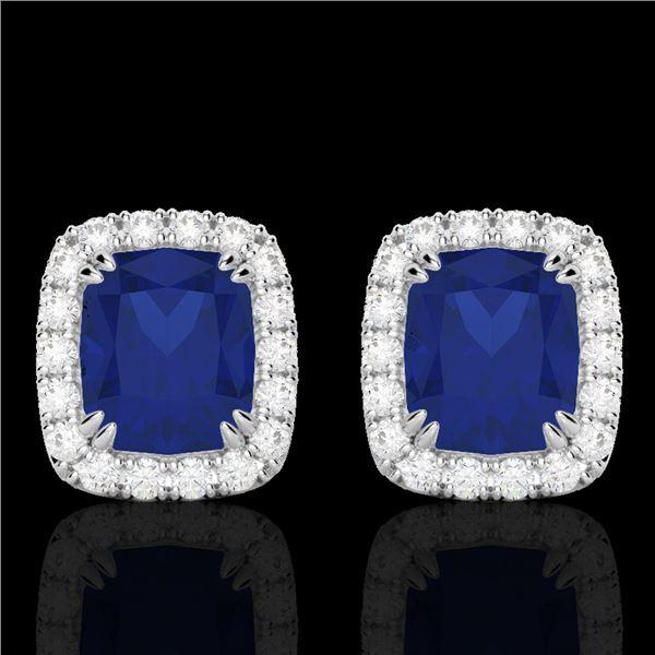 2.50 ctw Sapphire & Micro Pave VS/SI Diamond Earrings 10k White Gold - REF-38H2R