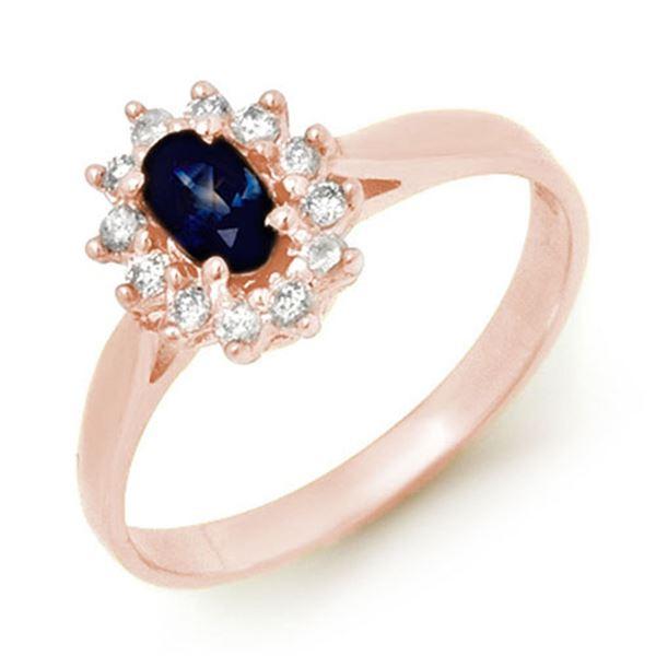 0.51 ctw Blue Sapphire & Diamond Ring 18k Rose Gold - REF-24M3G