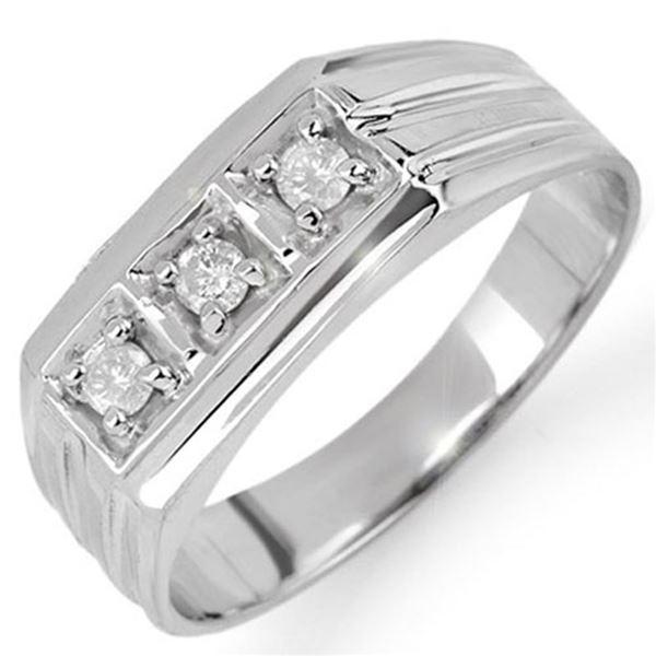 0.20 ctw Certified VS/SI Diamond Men's Ring 10k White Gold - REF-24Y2X