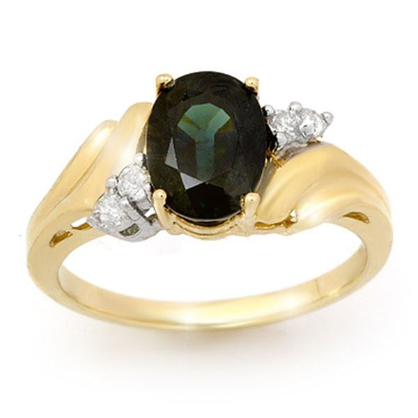 1.67 ctw Blue Sapphire & Diamond Ring 10k Yellow Gold - REF-15W8H