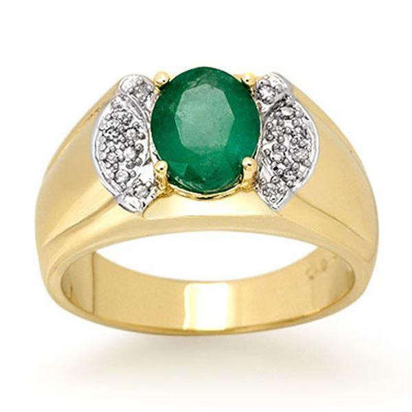 2.15 ctw Emerald & Diamond Men's Ring 10k Yellow Gold - REF-47R9K