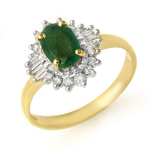 1.25 ctw Emerald & Diamond Ring 10k Yellow Gold - REF-33H4R