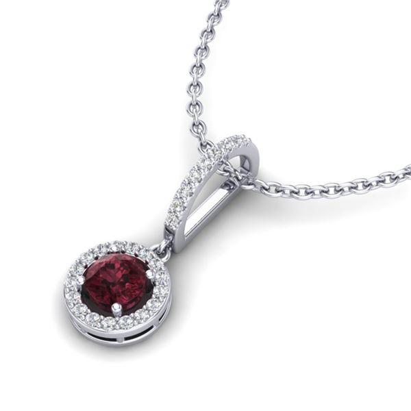 1 ctw Garnet & Micro VS/SI Diamond Certified Necklace 18k White Gold - REF-35A2N