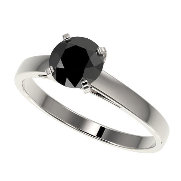 1 ctw Fancy Black Diamond Solitaire Engagment Ring 10k White Gold - REF-23G2W