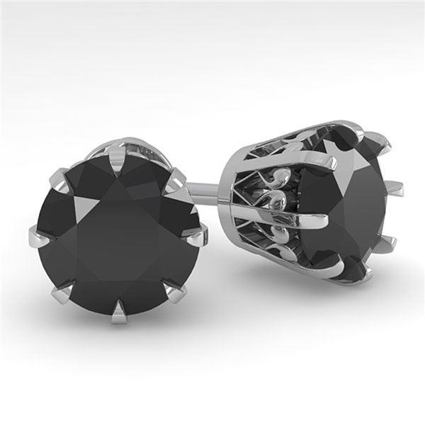 4.0 ctw Black Diamond Stud Solitaire Earrings Vintage 18k White Gold - REF-127N5F