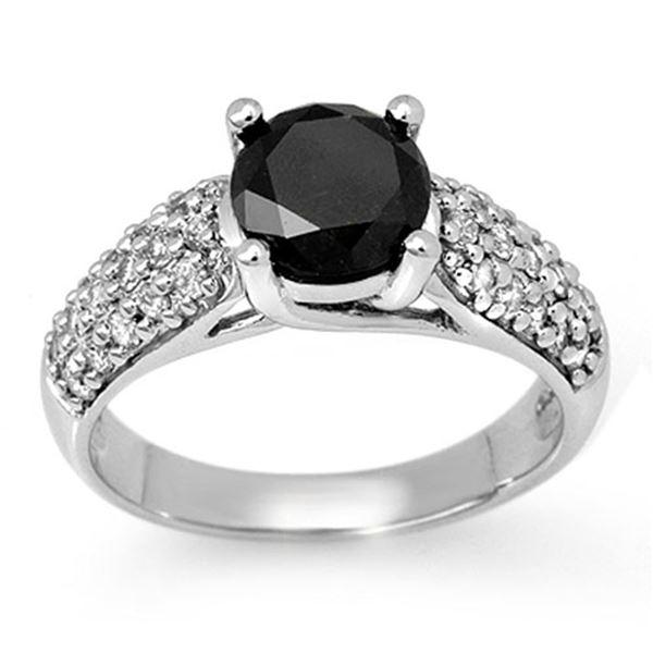 2.05 ctw VS Certified Black & White Diamond Ring 14k White Gold - REF-89A3N