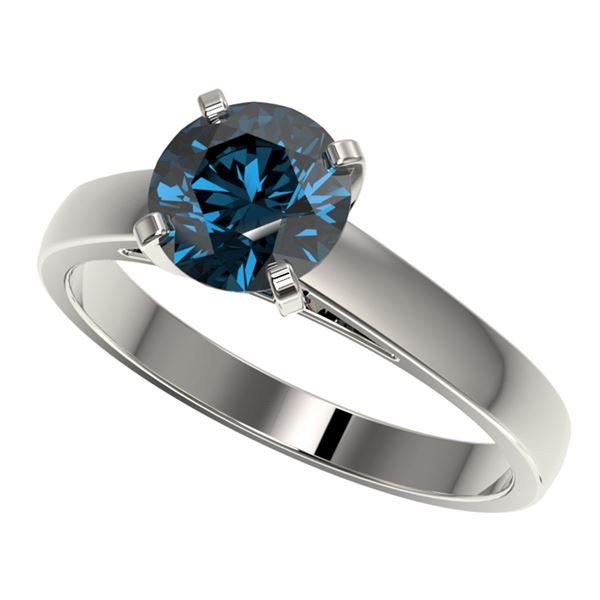 1.50 ctw Certified Intense Blue Diamond Engagment Ring 10k White Gold - REF-171F8M