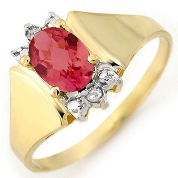 1.04 ctw Pink Tourmaline & Diamond Ring 14k Yellow Gold - REF-17F8M