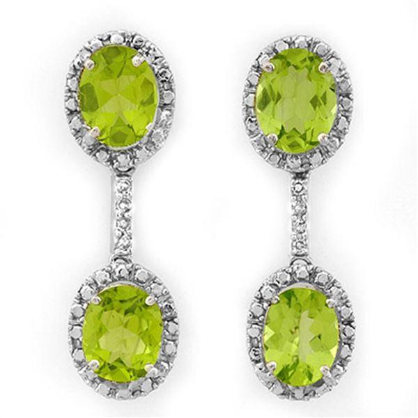 8.10 ctw Peridot & Diamond Earrings 14k White Gold - REF-80X5A