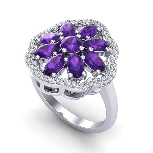 3 ctw Amethyst & VS/SI Diamond Cluster Designer Ring 10k White Gold - REF-49K3Y