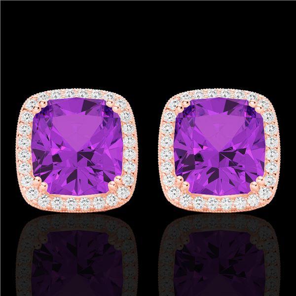 6 ctw Amethyst & Micro Pave VS/SI Diamond Halo Earrings 14k Rose Gold - REF-51A4N