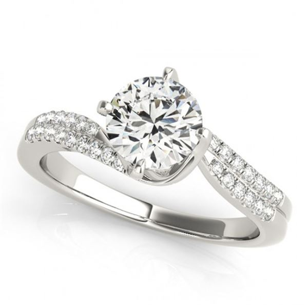 0.75 ctw Certified VS/SI Diamond Bypass Ring 18k White Gold - REF-102Y3X
