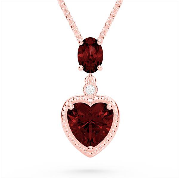 4 ctw Garnet & VS/SI Diamond Designer Heart Necklace 10k Rose Gold - REF-21K3Y