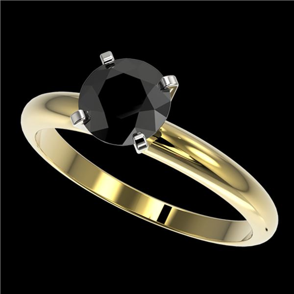 1.25 ctw Fancy Black Diamond Solitaire Engagment Ring 10k Yellow Gold - REF-24F4M