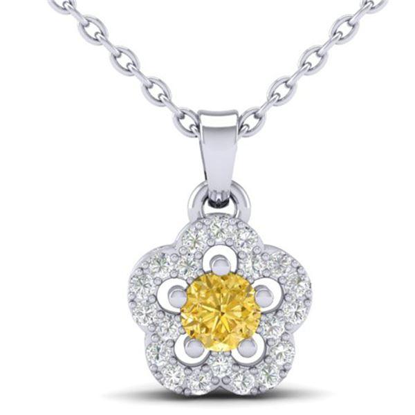 0.33 ctw Citrine & Micro VS/SI Diamond Necklace MOON 10k White Gold - REF-13N2F