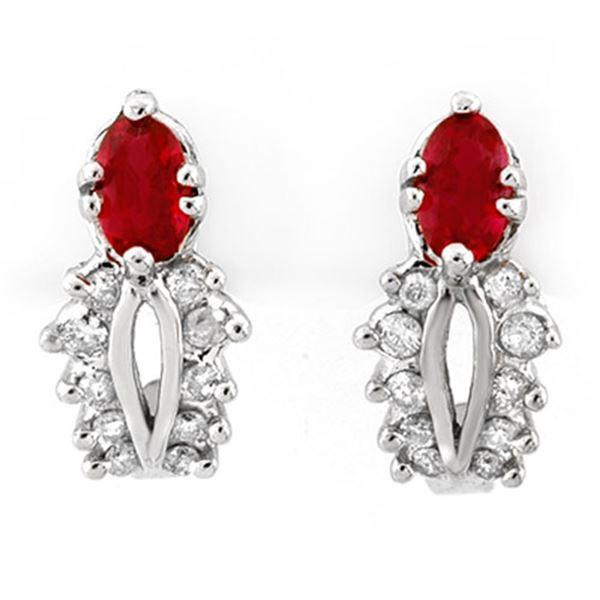 0.90 ctw Red Sapphire & Diamond Earrings 14k White Gold - REF-30N3F