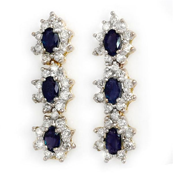 5.88 ctw Blue Sapphire & Diamond Earrings 14k Yellow Gold - REF-141N8F