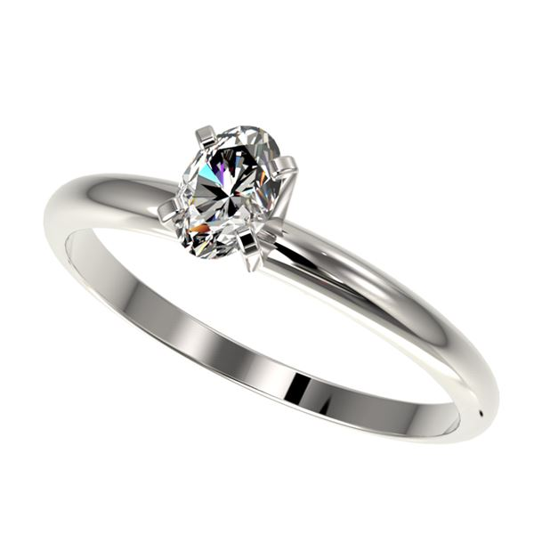0.50 ctw Certified VS/SI Quality Oval Diamond Engagment Ring 10k White Gold - REF-60G3W