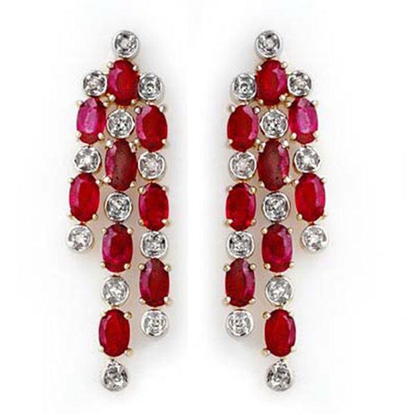4.03 ctw Ruby & Diamond Earrings 14k Yellow Gold - REF-109N3F