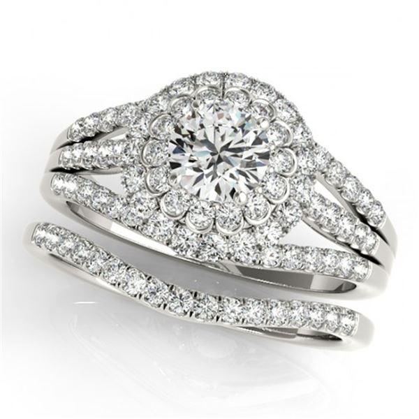 1.41 ctw Certified VS/SI Diamond 2pc Wedding Set Halo 14k White Gold - REF-118F2M