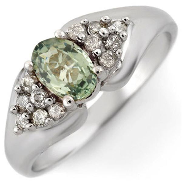 0.90 ctw Green Sapphire & Diamond Ring 10k White Gold - REF-23N9F