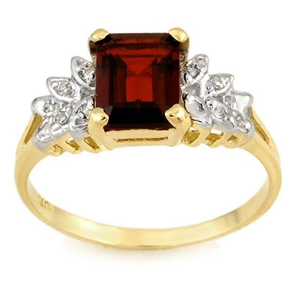 2.37 ctw Garnet & Diamond Ring 10k Yellow Gold - REF-14R8K
