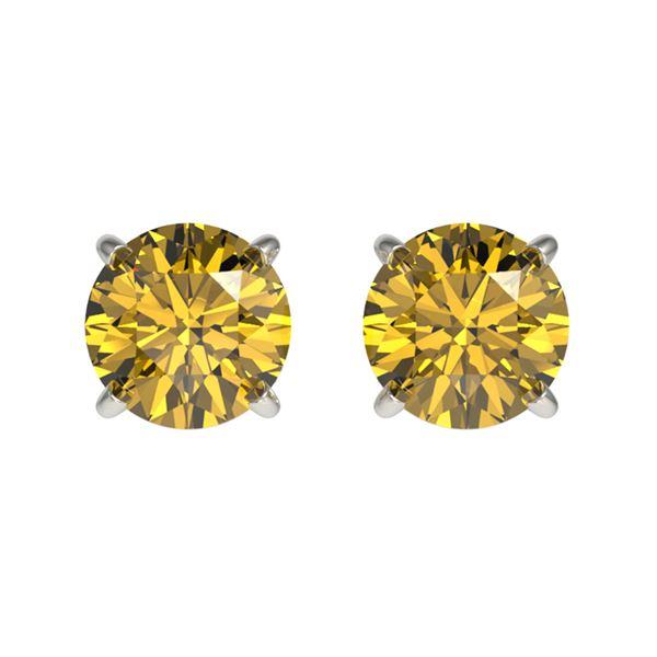 1.04 ctw Certified Intense Yellow Diamond Stud Earrings 10k White Gold - REF-95Y3X