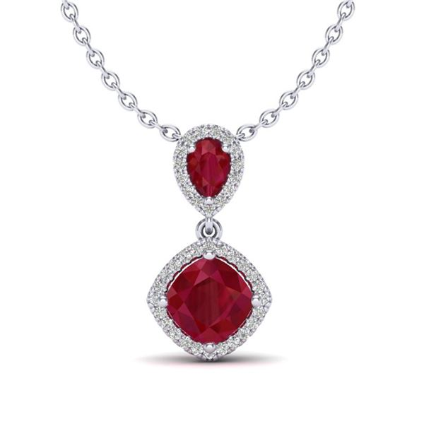 3.50 ctw Ruby & Micro Pave VS/SI Diamond Necklace 10k White Gold - REF-55A2N