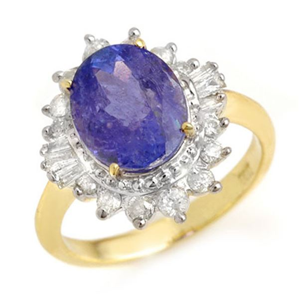 3.75 ctw Tanzanite & Diamond Ring 14k Yellow Gold - REF-107W3H