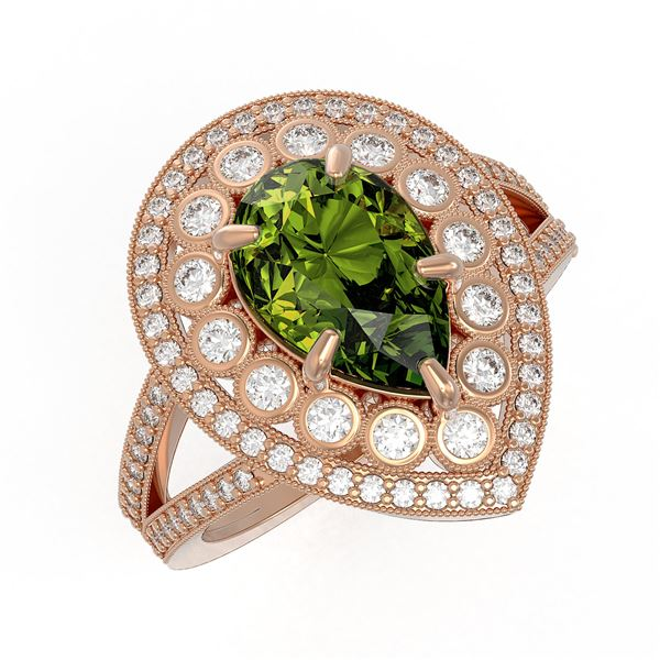 5.02 ctw Certified Tourmaline & Diamond Victorian Ring 14K Rose Gold - REF-172X8A