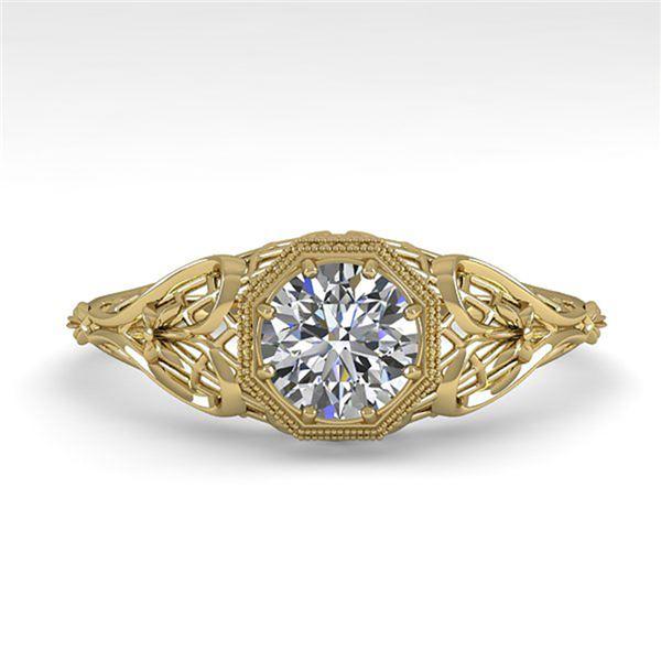 0.50 ctw VS/SI Diamond Engagment Ring Art Deco 18k Yellow Gold - REF-107H3R