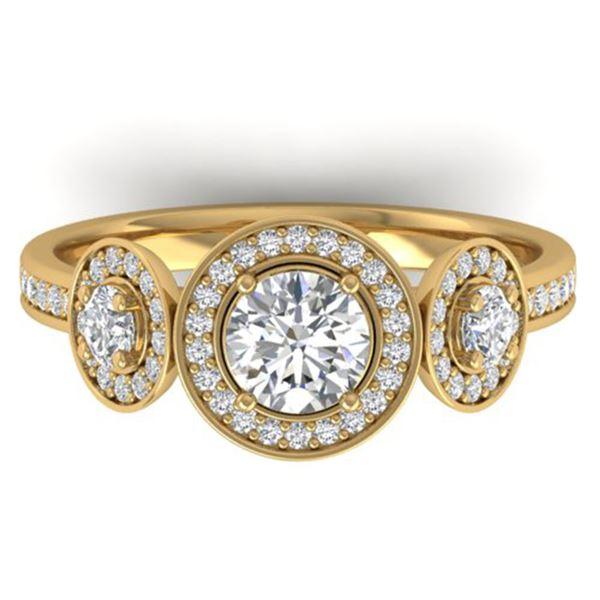 1.25 ctw VS/SI Diamond Art Deco 3 Stone Micro Ring 14k Yellow Gold - REF-134W5H