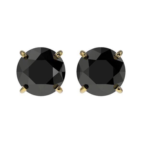 1.61 ctw Fancy Black Diamond Solitaire Stud Earrings 10k Yellow Gold - REF-31G3W