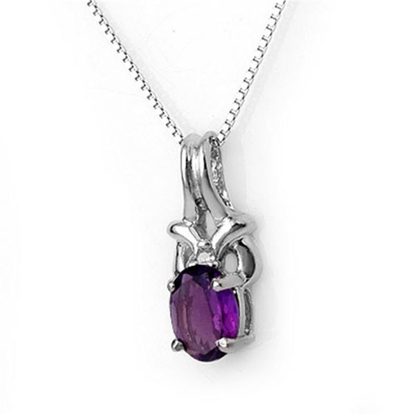 0.77 ctw Amethyst & Diamond Necklace 10k White Gold - REF-8N9F