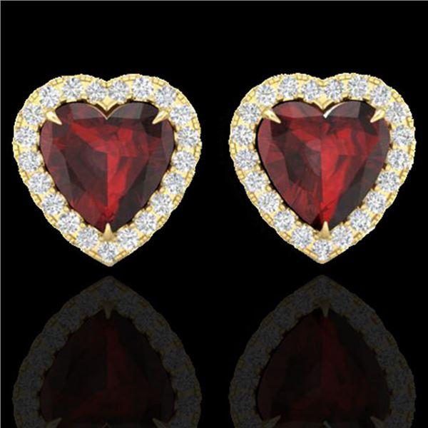 2.22 ctw Garnet & Micro Pave Diamond Earrings Heart 14k Yellow Gold - REF-38W2H