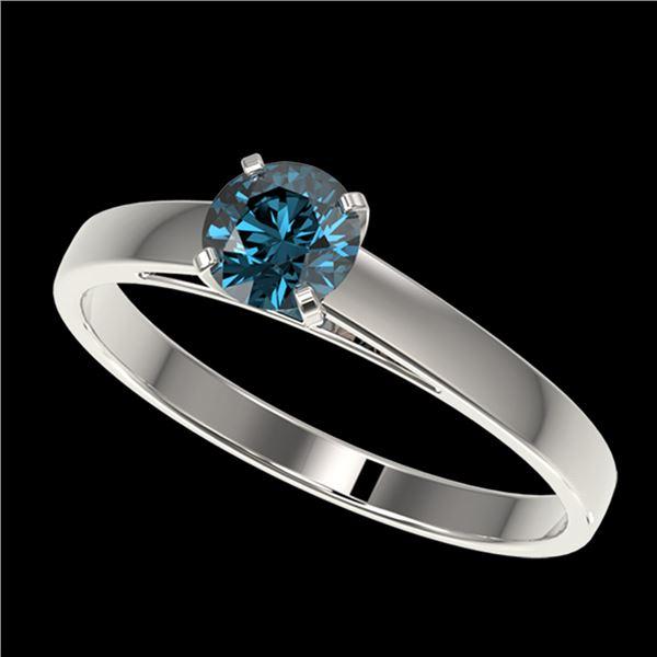 0.54 ctw Certified Intense Blue Diamond Engagment Ring 10k White Gold - REF-41A2N