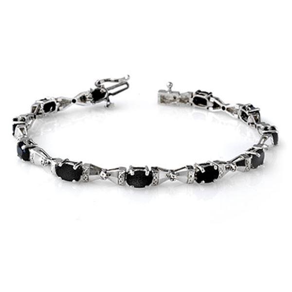 7.11 ctw Blue Sapphire & Diamond Bracelet 10k White Gold - REF-105Y5X